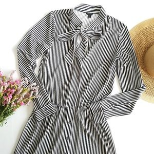 Ann Taylor   Vertical Stripe Tie Neck Shirtdress